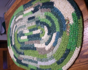 Hand Crocheted Rag Rug in Various Shades of Greens 2' x 3'