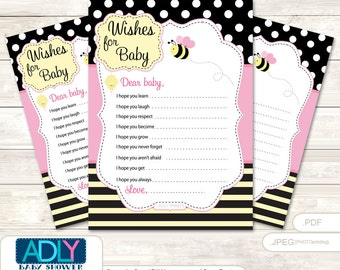Pink Bumble Bee Wishes for a Baby Shower, Well Wishes Babee Baby Bumble Bee Shower DIY Yellow-ao122bs6