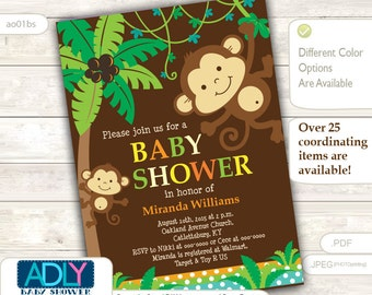 Personalized  Brown Jungle Monkeys Baby Shower Printable DIY party invitation for boy - ONLY digital file - you print ao01bs
