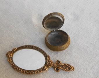 Vintage Doll Vanity Set, Mirror and Powder Case