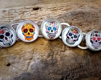 Sugar Skull Handmade Silver Plated Link Charm Bracelet Mexican Day of the Dead Dia De Los Muertos