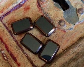 Czech Glass Table Cut Rectangle Beads 8x12m  jet Picasso copper  4 pcs