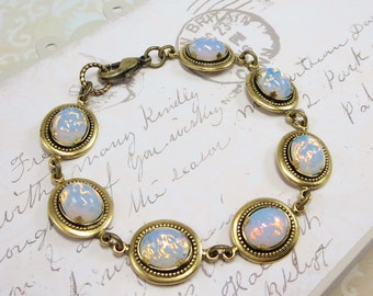 White Fire Opal Bracelet Vintage Glass Jewels Rhinestone Tennis Bracelet Victorian Shabby Chic Bridal Wedding Gift