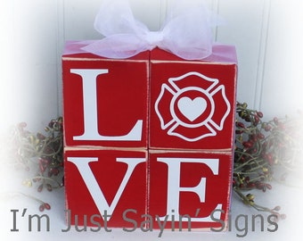 Fireman Love Wood Blocks