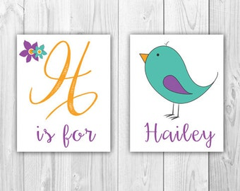 Baby Room Wall Art |  Letter and Bird (Print at Home)