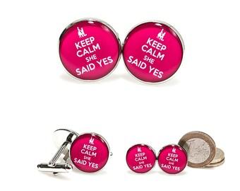 Keep Calm She Said Yes Cufflinks Keep Calm Cuff Links Cufflink Cuffs Wedding Cuffinks Groomsmen Gift Mens Jewelry Groom Gift