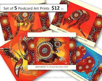 Aboriginal Art Postcard Set/  Echidna, Kangaroo, Goanna, Stingray, Brolga, by Biripi Artist Russell Saunders / Earth tones / 5 small prints