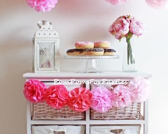 Set of 20 (5L/5M/5S/5Xs) Pom Poms - Pink sorbet - Ombre pink - Tissue poms - Fluffy Pompoms  - Paper flower - Tissue paper balls