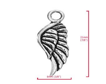 21x8 mm Wing Charm Pendant Silver Plated Metal Findings For Jewelry Making P9949 Sold Per Piece  In US