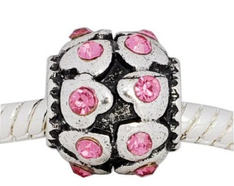 European Charm Bead For All Large Hole Charm Bracelet And Necklace Chain. Pink Hearts with Stones, Summer Collection 10x12mm