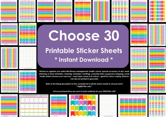 CHOOSE 30 Planner Stickers - Rainbow Calendar Stickers - Money, health, reminder, school- various sizes - Planner Accessory Erin Condren