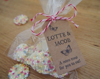 15 handmade personalised tags with bakers twine or ribbon, many options available. Add to wedding favours