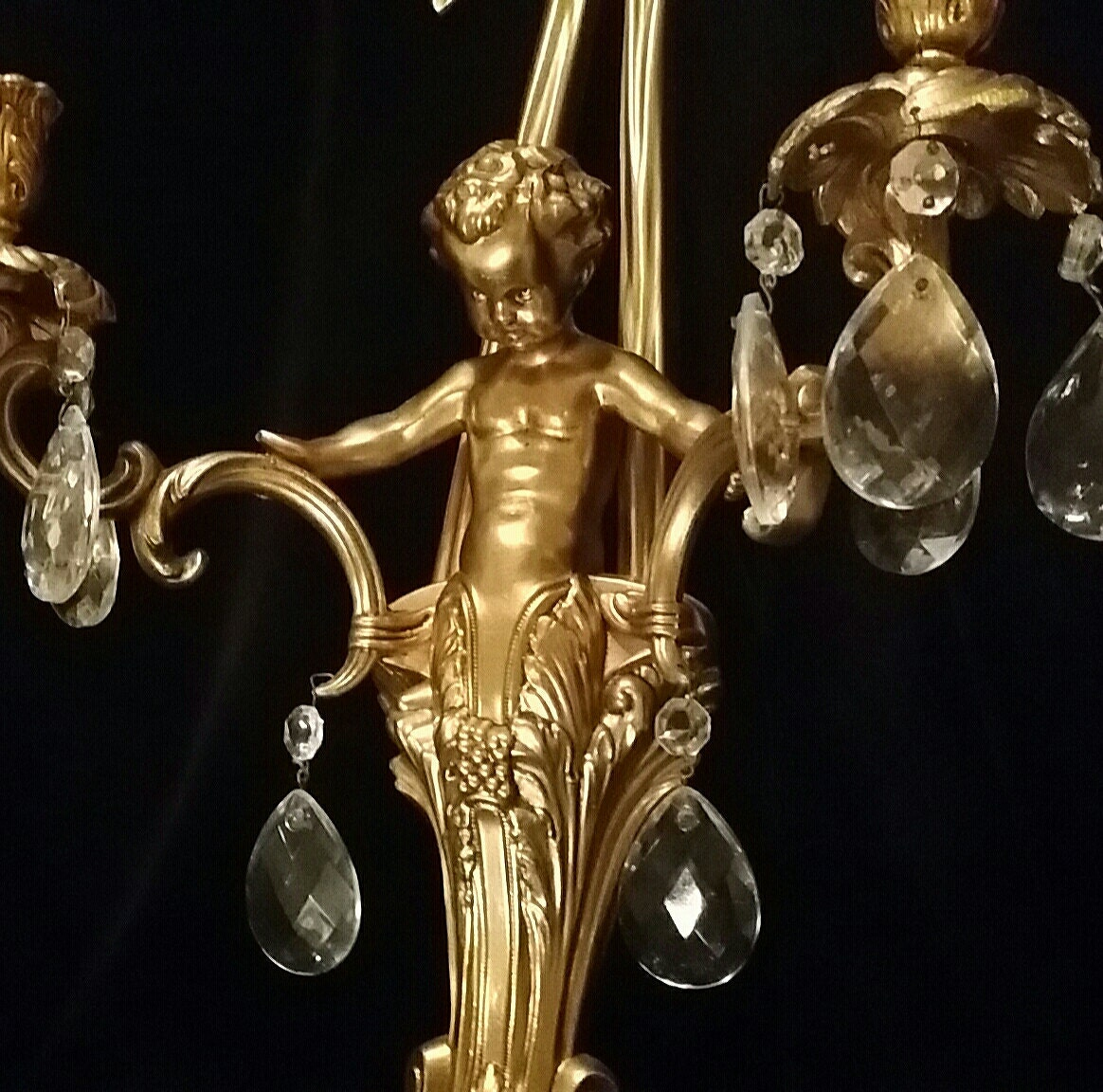 Brass Cherub Wall Sconces : SOLD Wall Sconces Brass Crystal Cherub Angel Pair Candle