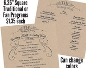 Qty. 50 Traditional or fan square Wedding Program - ONE sheet of Shimmer Quartz (white) cardstock printed both sides