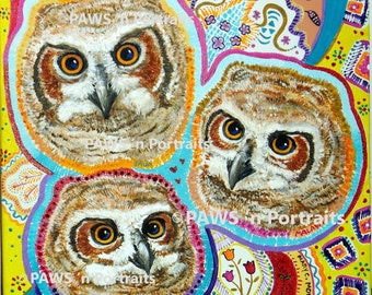 PAWS 'n Portraits - ORIGINAL painting of Tiger Trio - Java, Malaya and Caspian 12x12 - FREE Shipping