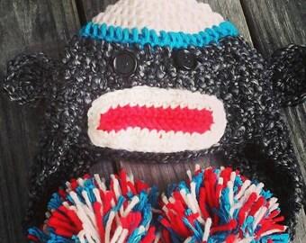 Sock monkey hat - custom sock monkey hat - crochet sock monkey hat - crochet sock monkey - custom hat crochet monkey - monkey hat crochet