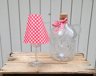 Wine glass Lampshades Country Rustic red Gingham tablesetting centerpiece buffets, barn theme, evening wedding, ,  Set of 3