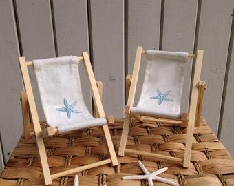 starfish cake decoration, beach chair, canvas back pair chairs, deck chair, Lounge chair cake topper folding pair unpainted wood