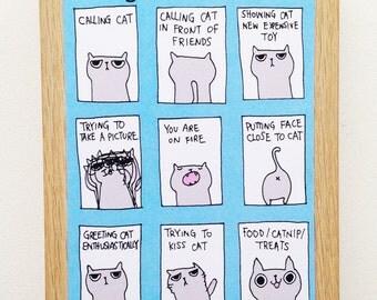 Many Faces Of Cat Postcard Cat Postcard