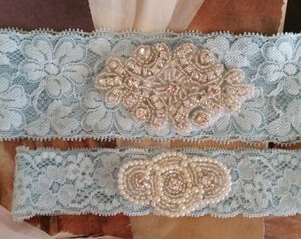 Wedding Garter Set - Pearl and Rhinestone Garter Set on a Light  Blue Lace Garter Set  - Style G207723