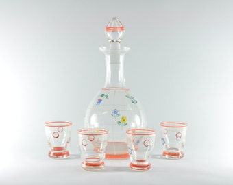 Czech Decanter Set with 4 Glasses, Hand Made, Painted Glasses,Vintage Decanter Set, Glass Decanter Set, Shot Glasses, Antique Decanter Set