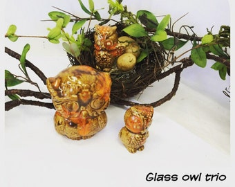 Vintage glass owl trio