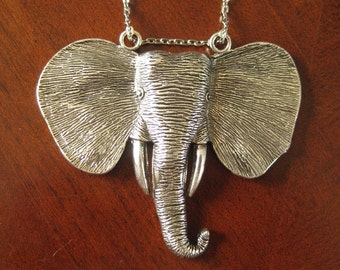 Large Silver African Elephant Necklace