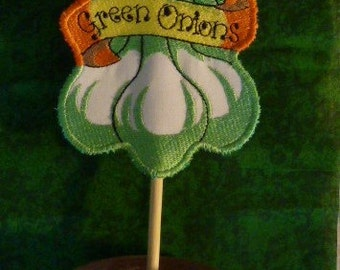 Green Onions Machine Embroidered Vegetable Garden Marker