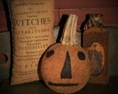 Primitive Pumpkin, Halloween Bottle, Altered Bottle, Owl Bottle, Wicca, Primitive Owl, Witch Pillow, Primitive Witch, OFG, HAFAIR, FAAP