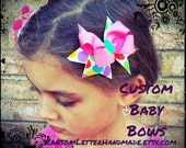 Pink Multi Color Bubble Dot Baby Birthday Bows for Toddlers or Babies two piece set of hair bows