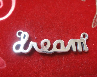 """925 sterling silver  """"dream"""" connector charm, silver dream charm,  dream charm connector"""