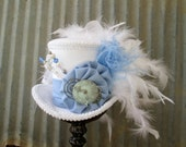 Mini Top Hat, Alice Blue, Alice in Wonderland Hat, Mad Hatter Hat, Steampunk Mini Top Hat, Kentucky Derby, Blue and White STeampunk Hat