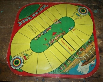 Tin Litho Game Board Motor Race CHECKERS  by WOLVERINE  2 in 1