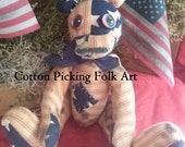 Primitive Americana Bear Patchwork Old Glory