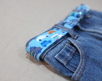 toddler child tween belt - peak hour / organic cotton cars trucks / blue white orange grey / boy / 1-3, 4-8, 9-12 years