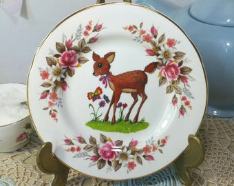 Pretty Decorative Wall Plate with original deer illustration. Vintage Crown Trent upcycled plate. PP031