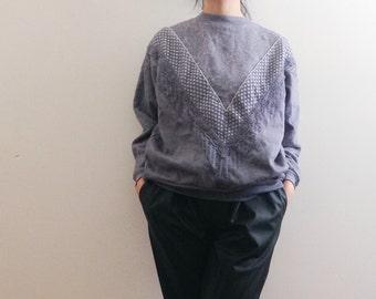 Grey multi texture sweatshirt