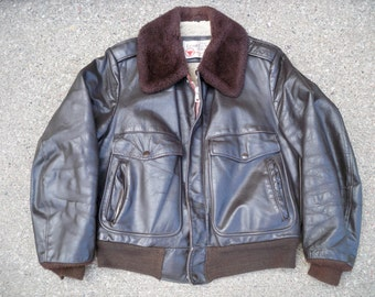 Vintage Sears Brown Leather Motorcycle Biker Riding Lined Men's Jacket Coat Size 38 Regular