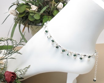 Emerald Pearl Anklet, May And June Birthstone, Green Gemstone Anklet In Sterling Silver, Gemstone Anklet, 9-10.25 Inches, Emerald Jewelry