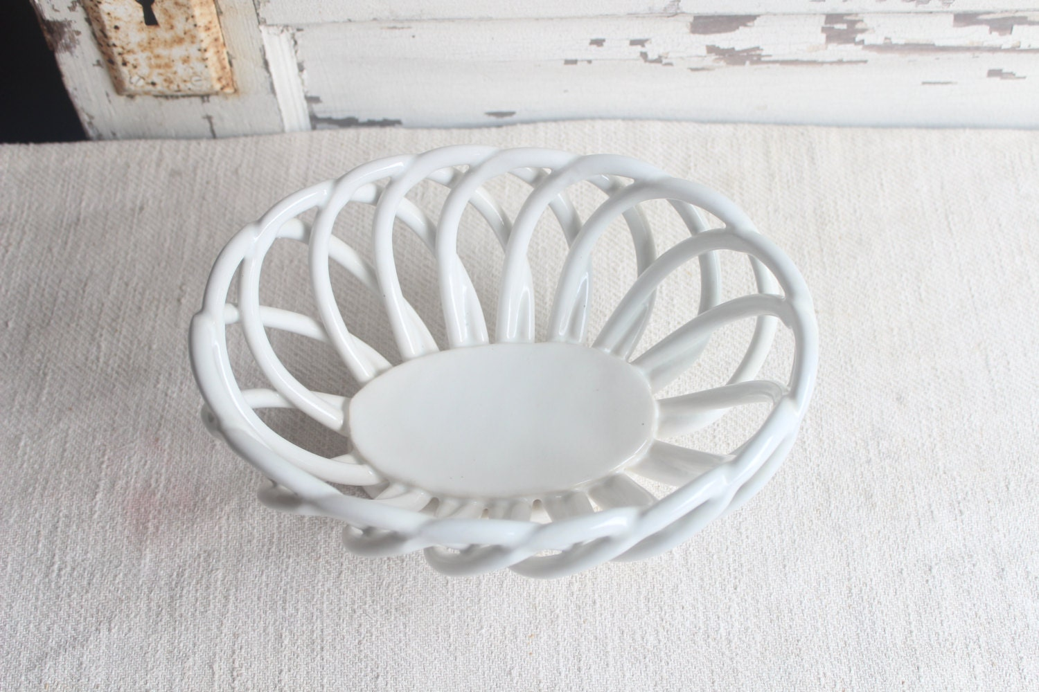 Vintage White Ceramic Open Weave Bread Serving Bowl Basket