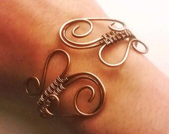 Bracelet Wire Wrapped Copper Jewelry Handmade Bracelet Hammered Copper Wire Wrap Bracelet