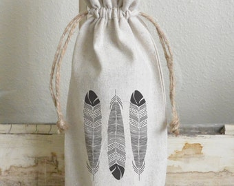 Feather Wine Bag_wine, present, party favor, wedding favor, gift bag, party, hostess gift