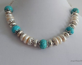 Turquoise and Freshwater Coin Pearl Necklace with Bali and Sterling Silver