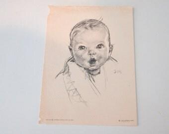 "5"" X 7"" Black & White Print of Gerber Baby"