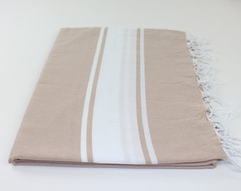 Beach Picnic Oversized Blanket, Beach Towel Blanket, Excellent Quality, 100% Turkish Cotton Light Brown