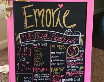First Birthday Chalkboard Pink and Gold