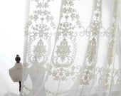 2 x Custom Made Ivory White Floral Flower Damask Embroidery White Sheer Voile Net Curtain French Country Provincial Victorian Cottage