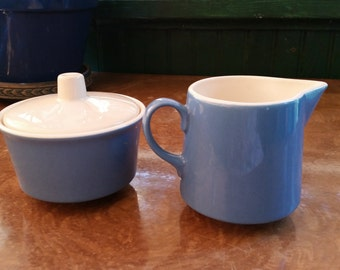 Sugar and Cream Set Mid Century Modern Blue White Mint Condition