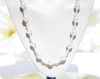 Faux Pearl and Clear Gem Necklace