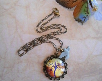 Growing love tree necklace:  Glass cabochon antique brass necklace with bird charm nickel free and lead free